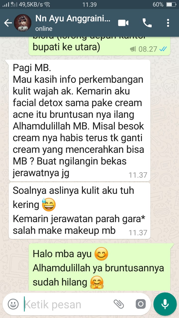 testimoni positif dari pengguna produk Alzena skincare